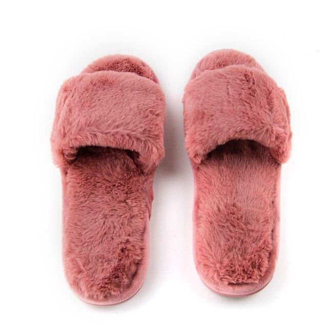 Fluffy Home Autumn Women Slippers Open Toe Soft Comfortable Plush Flip Flop High Quality Fleece House Sandal Fashion Woman Shoes