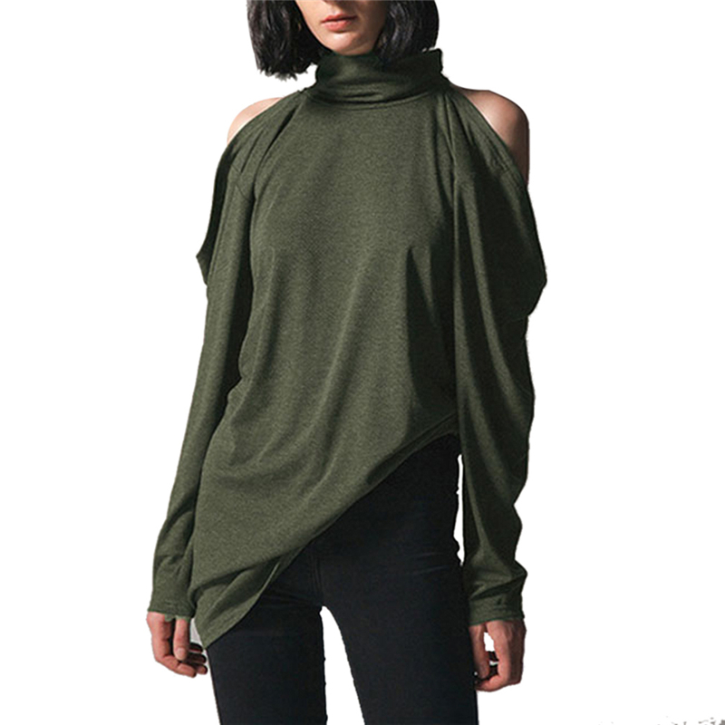 Women Sexy Off Shoulder Turtleneck Tshirt Autumn Casual Loose Long Sleeve T-Shirt Female Long Tee Tops New Arrivals