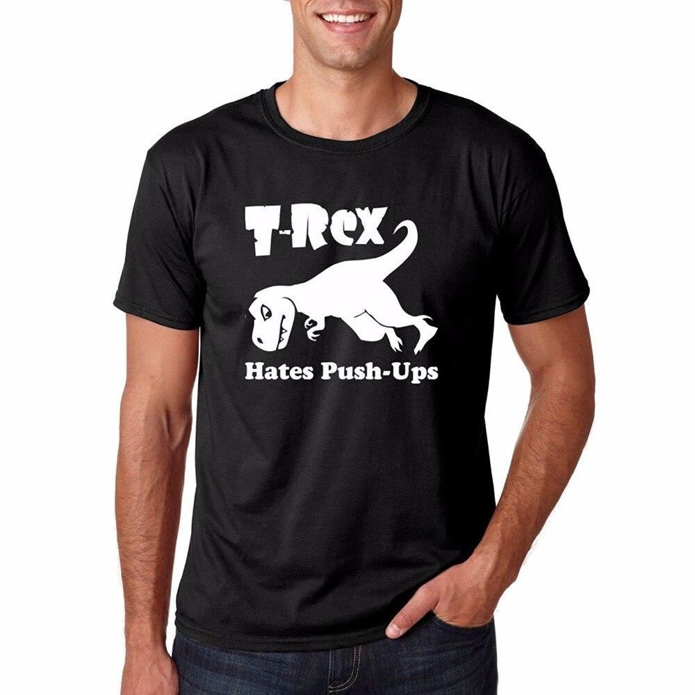 Веселый Рубашки для мальчиков короткие экипажа Средства ухода за кожей Шеи T Rex Ненавидит push UPS упражнения Веселые тренировки подарок премье...