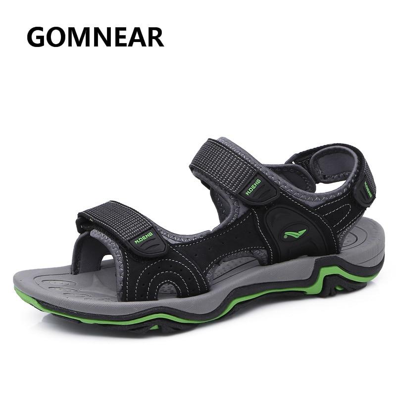 GOMNEAR nye sommer sandaler til mænd ægte læder sneakers åndbar hurtig tørt udendørs blød gummi strand sko størrelse 39-44