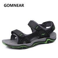 Vender GOMNEAR nuevas sandalias de verano para hombres zapatillas de cuero genuino transpirable de secado rápido al aire libre de goma suave zapatos de playa tamaño 39- 44
