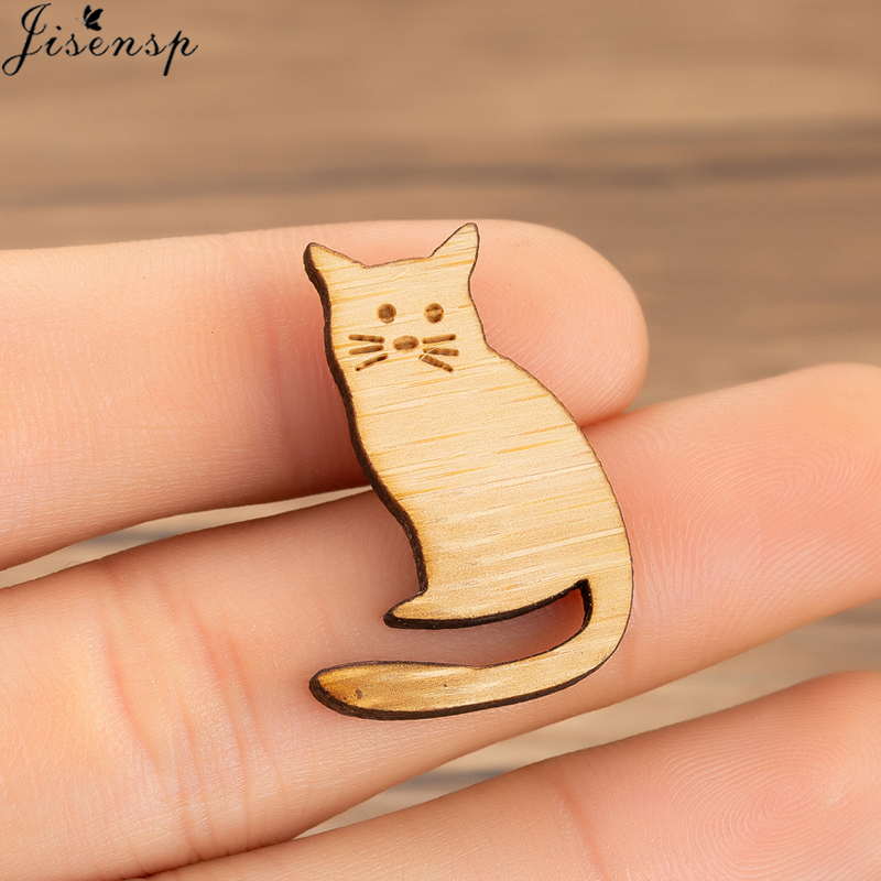 Hot Cartoon Cute Cat Animal Enamel Brooch Pin Badge Decorative Jewelry Style Wooden Brooches for Women Gift
