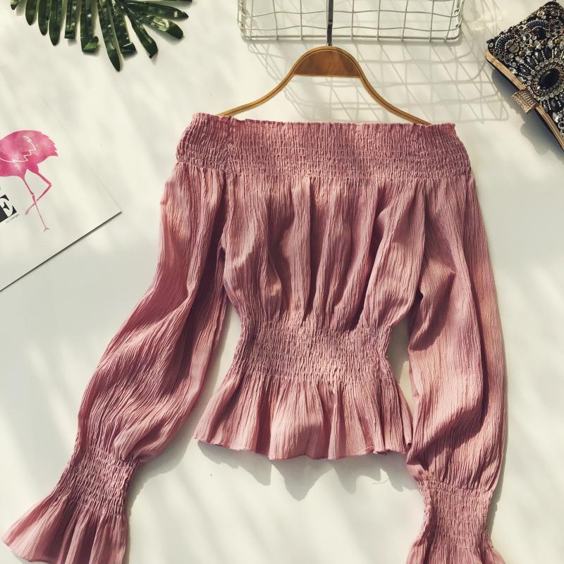 2019 spring new women pure color slash neck elasticity waist lantern sleeve blouses shirt female elegant sweet slim shirts tops 18