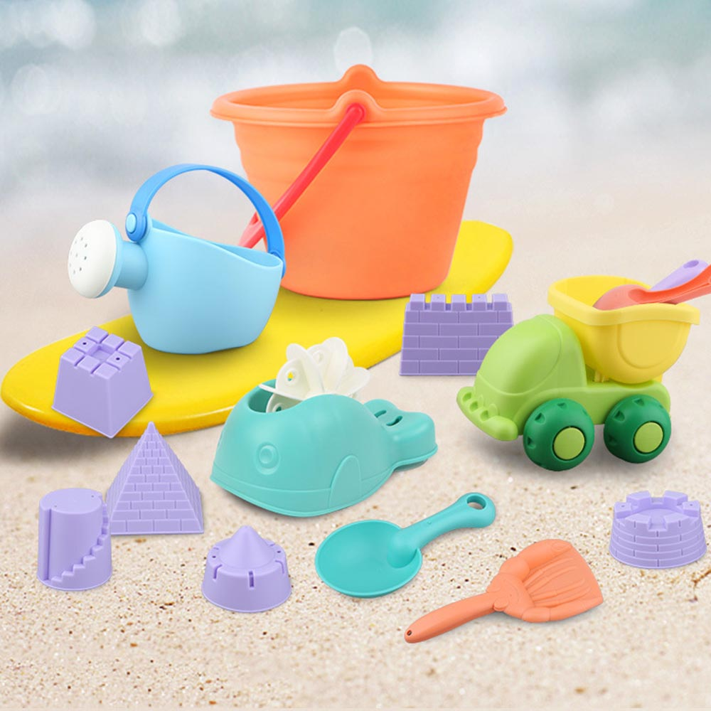 Funny 5/12-14pcs Soft Rubber Beach Sand Toys Set Outdoors Fun For Kids Colorful Beach Toys