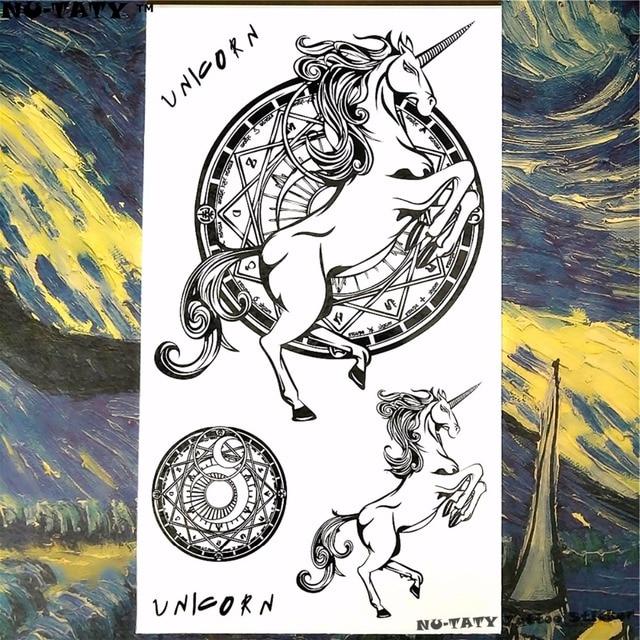 Nu Taty Unicornio Pegasus Horse Arte Corporal Tatuaje Temporal Brazo