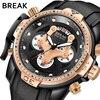 BREAK Men Top Luxury Brand Unique Casual Fashion Rubber Band Sport Wristwatches Man Quartz Chronograph Army