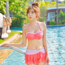 2016Fashion Tankini Summer Style Swimsuit Female Swimming Suit for Women Dot Separate Tops and Short Skirt