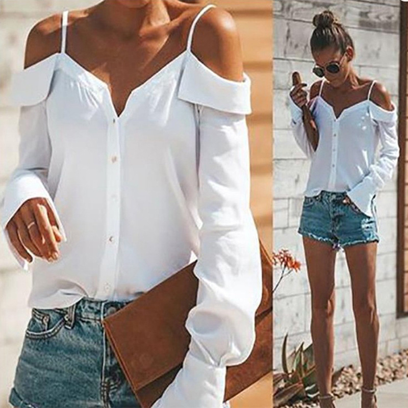 Uguest women 화이트 셔츠 오프 숄더 탑 랜턴 슬리브 버튼 v 넥 세련된 여성 탑 캐주얼 솔리드 여름 티셔츠