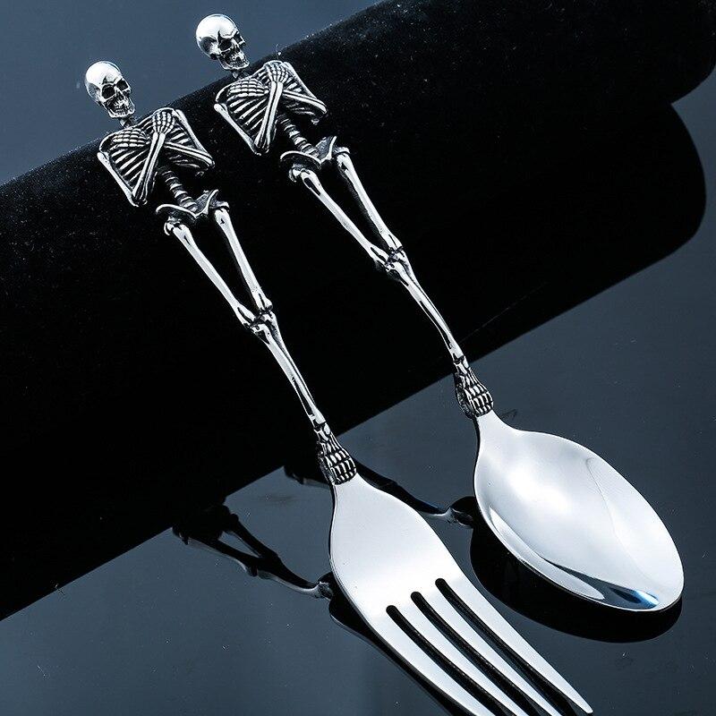 Einzigartige Edelstahl Skelette Besteck Skeleton Gabel Löffel Schädel Halloween Geschirr Familie Party Geschenk Metall Besteck Set