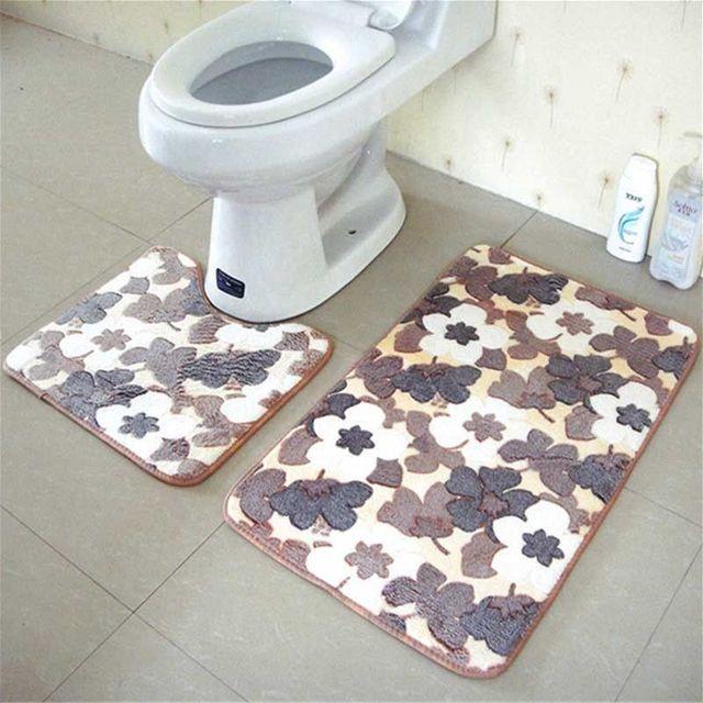 Badkamer Matten Set Coral Fleece Foam Kleed Kit Wc Bad antislip ...