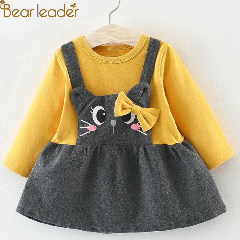 Bear Leader Girls Dress 2018 Spring Brand Baby Girls Blouse Lace Crew Neck Kids Shirts Children Clothing Dress For 6-24M