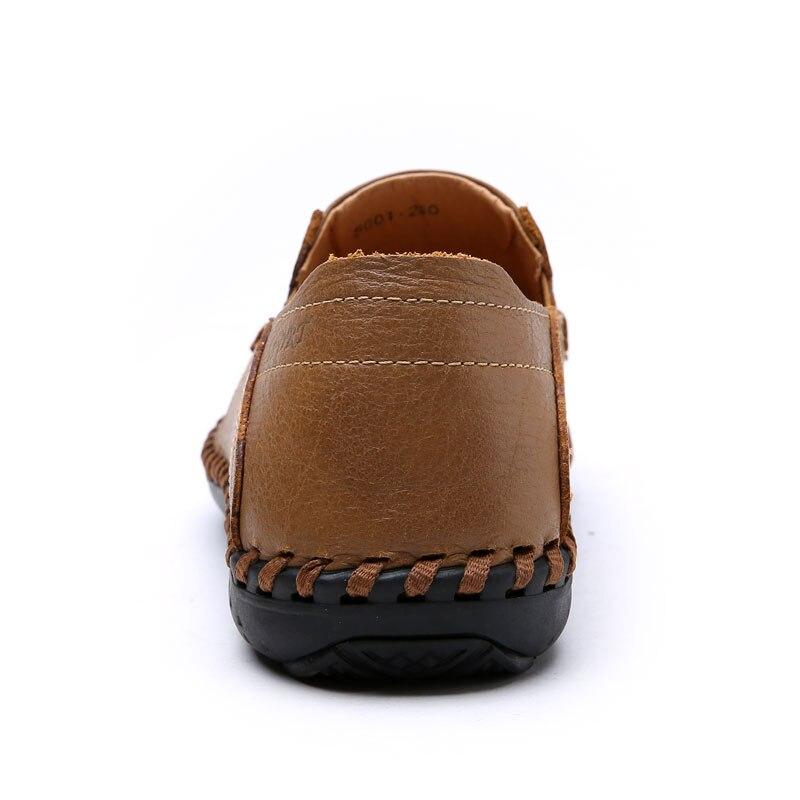 Respirável Brown Homens Vestido Autuspin Escuro Couro Chaussure Light Dos Verão Oco Design Sapatos Genuínas De New cáqui Calçados Homem Casuais Lazer Loafers rESqSWwYH