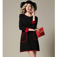 New Fall of New Europe Europe OL Commuter Slim Slim Long Sleeved Dress Patchwork Cute Office Dress Women's Dresses