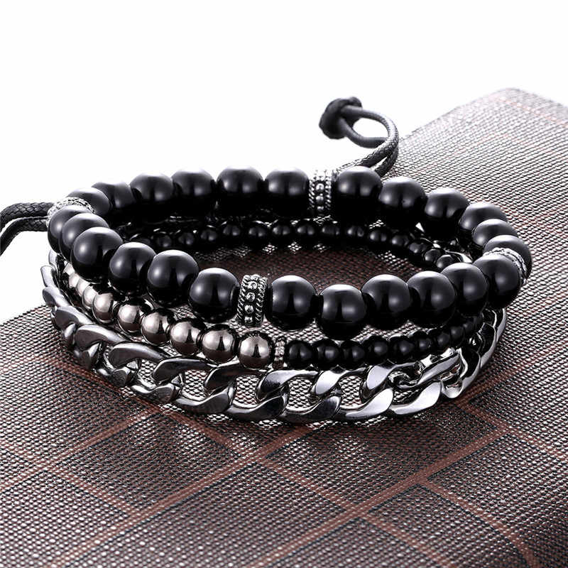 1 Set 3PCS Leather Gold Anchor Beaded Bracelet Women Stainless Steel Link Chain Charm Men's Couple Bracelets Dropshipping homme