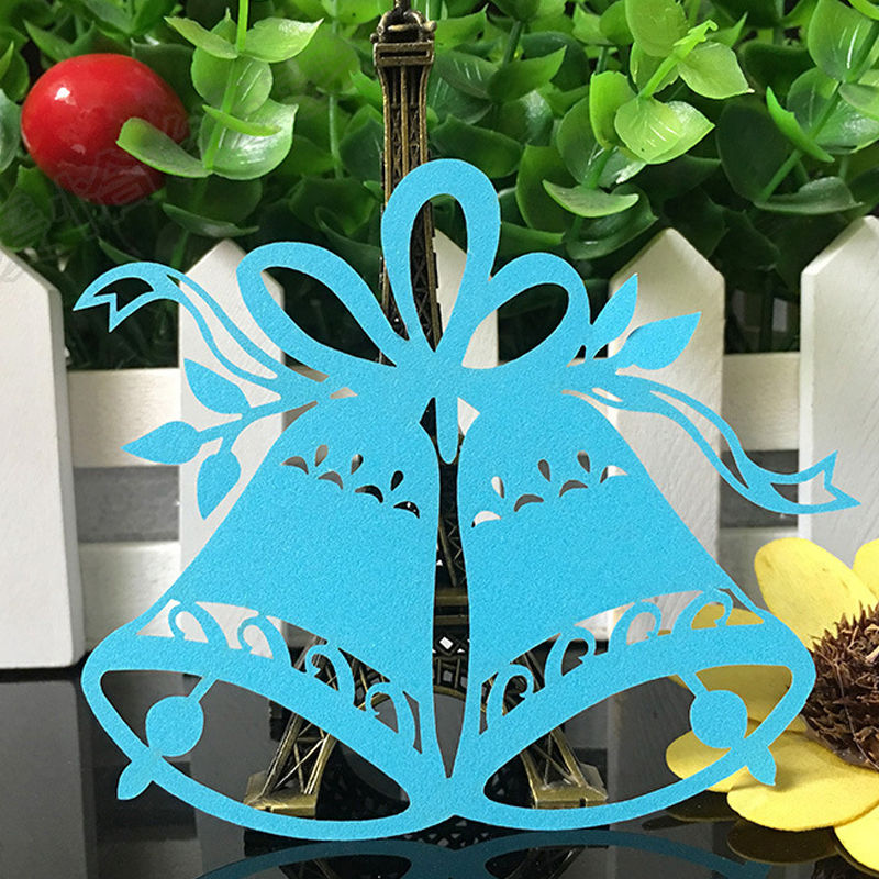 50pcs Christmas Bells Laser Cut Table Place Cards Name Number for Wedding birthday Party Decoration favor-3