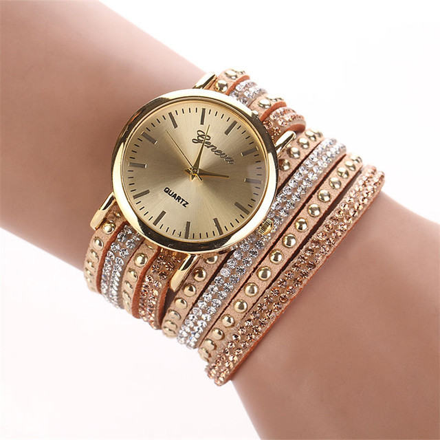 Women Watches Crystal Rivet Bracelet Watch leather Quartz Braided Winding Wrap Wrist Watch Relogio Feminino Dial Hour Time Clock