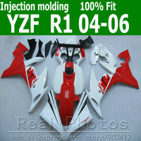 100% Injection molding fairing body kit for YAMAHA R1 2004 2005 2006 red white black fairings set 04 05 06 YZF R1 AS2