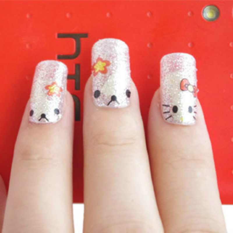 Water Transfer Korean Style Cartoon Cute Silver Kitty Cat Nail Art ...