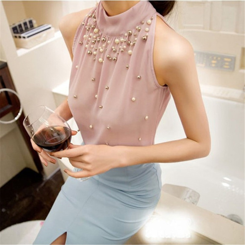 Women Beading Chiffon   Blouse   Korean Fashion Sleeveless Women Turtleneck Chiffon   Blouse     Shirt   Women Tops Pink Green S M L XL