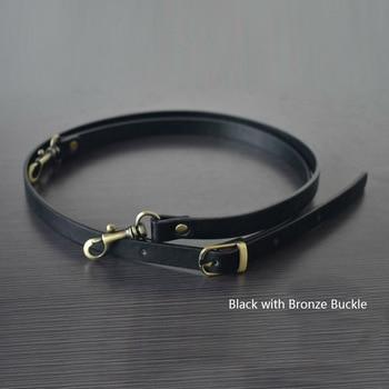 135CM Adjustable Leather Strap Handbag Shoulder Bag Belts Handmade Replacement Bronze Buckle Parts Accessories  Black