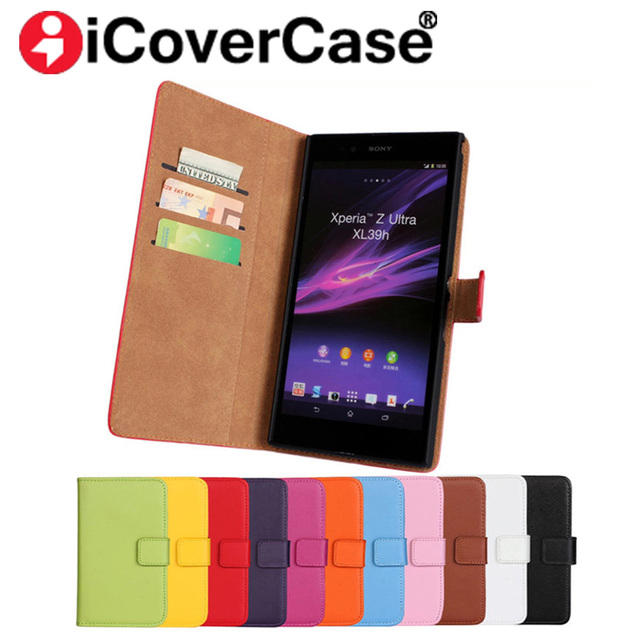 online retailer 825f2 e70f1 US $4.54 9% OFF|Luxury Vintage Leather Wallet Case Flip Cover For Sony  Xperia Z Ultra XL39h C6802 LTE C6806 C6833 Card Slots And Stand-in Wallet  Cases ...