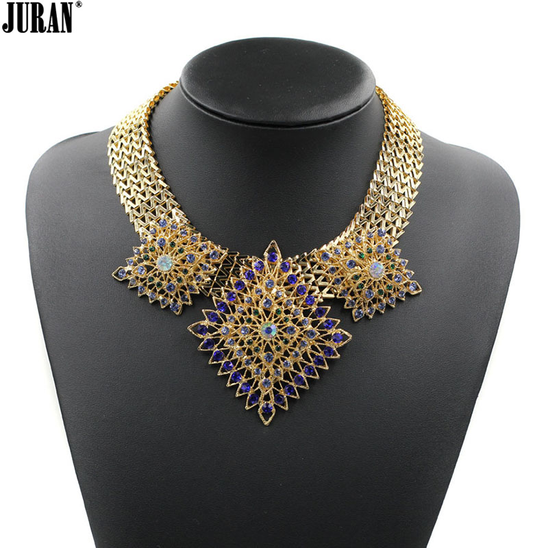Luxury Special vintage ethnic gold-color Chains geometric Pendants Rhinestone Choker Necklaces Statement Jewelry red white blue