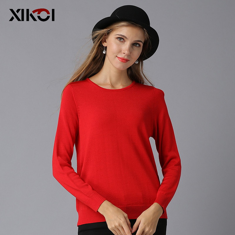 XIKOI 2018 New Elegant Halter Knitted Sweater Autumn Winter Christmas Red Pullover Women Tops Slim O Neck Black Jumper Casual