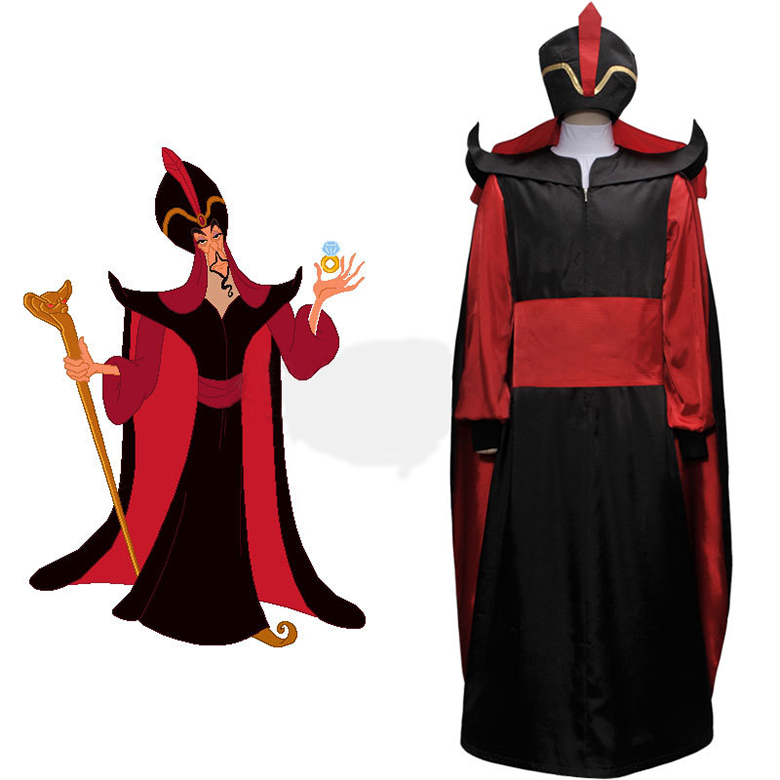 Aladdin Jafar Villain Cosplay Costume Outfit Adult Men's Halloween Carnival Cosplay Costume