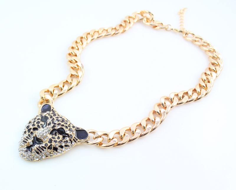 Cool սև արծնապակի ընձառյուծի գլխի - Նորաձև զարդեր - Լուսանկար 4