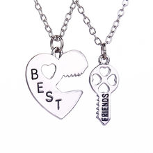 Hot Sale Best Friends Necklaces Long Chain Key Inset Heart Necklaces Couple Friendship Necklace For Gifts Womens Necklaces(China)