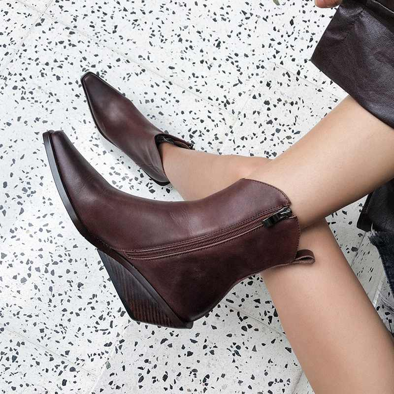 krazing pot recommend genuine leather square high heel pointed toe zipper charming model runway vintage Chelsea ankle boots l63 - 3