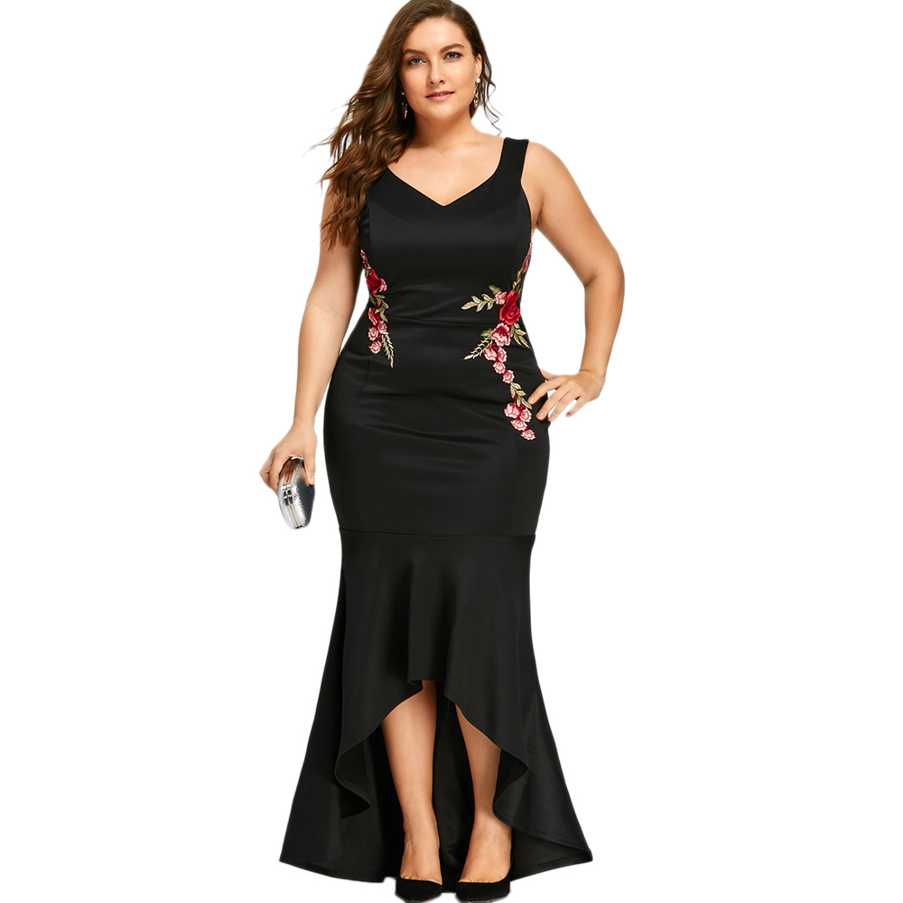 Langstar Embroidery Rose Mermaid Plus Size Maxi Dress Sexy Black