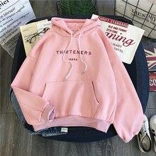 Зимняя женская одежда с длинным рукавом и принтом букв в стиле Харадзюку розовые женские толстовки Свитшот Модный женский пуловер с карманами для женщинТолстовки и свитшоты    АлиЭкспресс