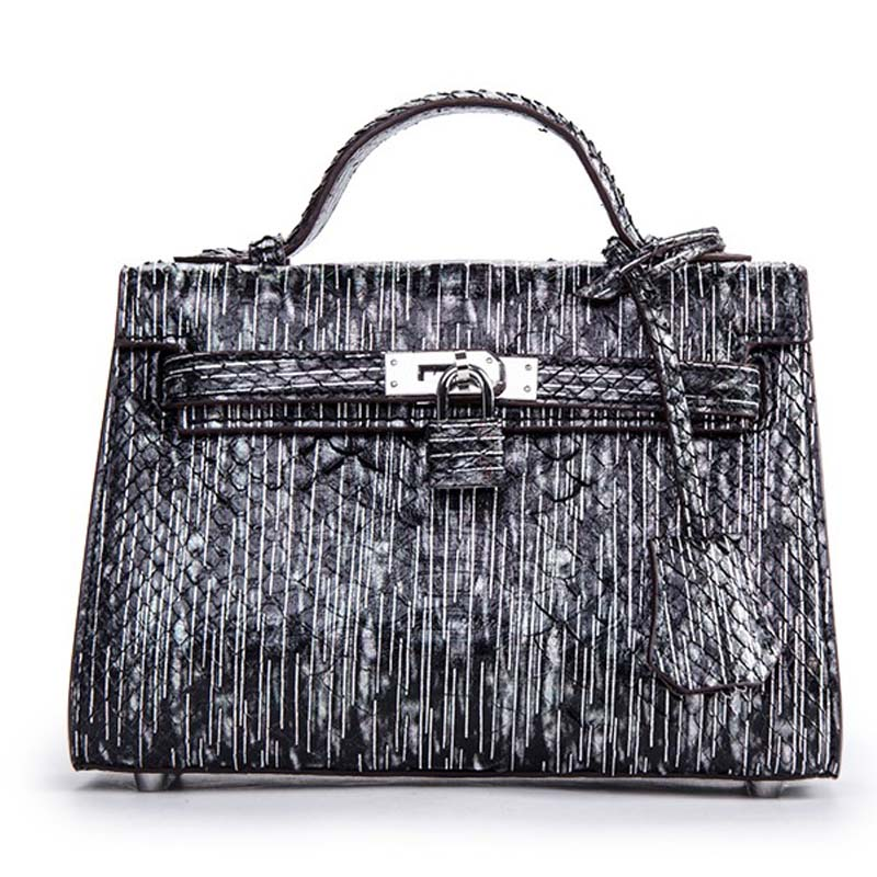 ouluoer High-end European and American fashion style new hand slanted snakeskin black leather small square shoulder bag