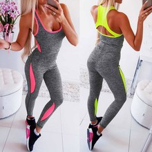 Women Jumpsuit Spring Summer Fitness Sports Running Playsuit Sexy Slings Colorblocked Slim Bodysuit Casual Rompers