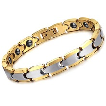 Fashion Men's Bangle Bracelet Genuine Pure Tungsten Gold Plated Black Magnetic Stone Health Care Punk Rock Trendy