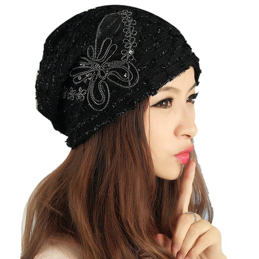 Bonnet Butterfly Beanie Hats Women's Skullies Turban Cap Women Winter Elastic Hat Lady Lace Beanies Gorros Mujer Invierno #JO  1pcsfashion knits hat cap winter hat for women hat skullies beanies brand soft cap female cap bonnet femme gorros mujer invierno