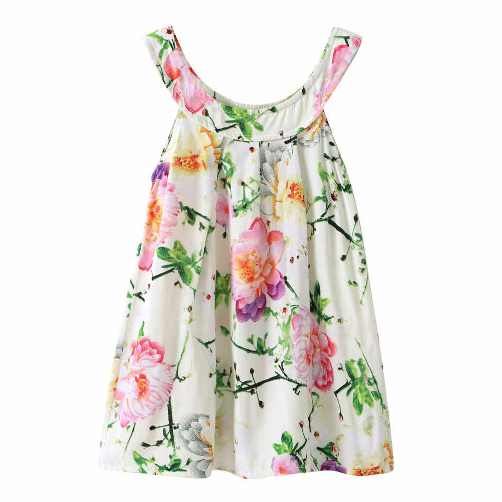 Floral Print Summer Cute Baby Kids Girl Vest Toddler Princess Party Floral Print Shirt Tops MUQGEW Above Knee Off Shoulder