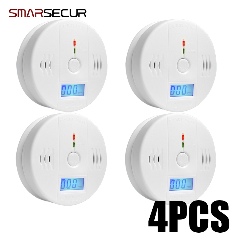 Smarsecur Digital 85dB Warning High Sensitive LCD Photoelectric Independent CO Gas Sensor Carbon Monoxide Poisoning Detector