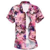 Plus Size M 7xl Printed Shirts For Men High Fashion Casual Men Summer Shirts 2018 Men Hawaiian Shirt Short Sleeve