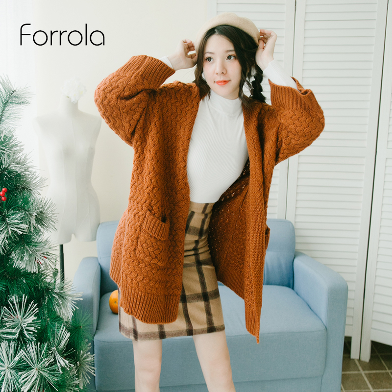 Women Sweater Autumn Winter Fashion Female Wide Sleeve Cardigans Thick Knit Poncho Girls Wool Knitwear Pull Femme Pocket