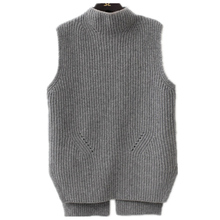 TAILOR SHEEP wool vest women loose half-high collar knit woo