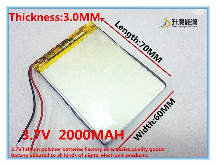 3.7 V 2000 mAh Lithium Polymère LiPo Rechargeable Batterie cellules puissance Pour GPS Vedio Jeu E-Book Tablet PC Power Bank 306070