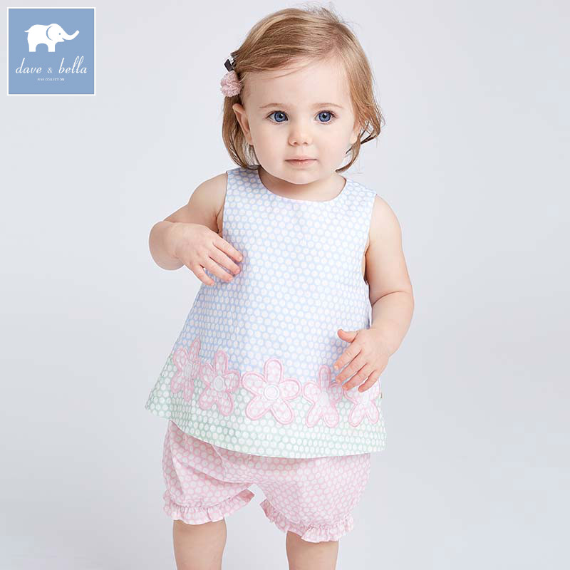 Dave bella summer baby girls clothing sets children lovely polka dots suits toddler infant high quality