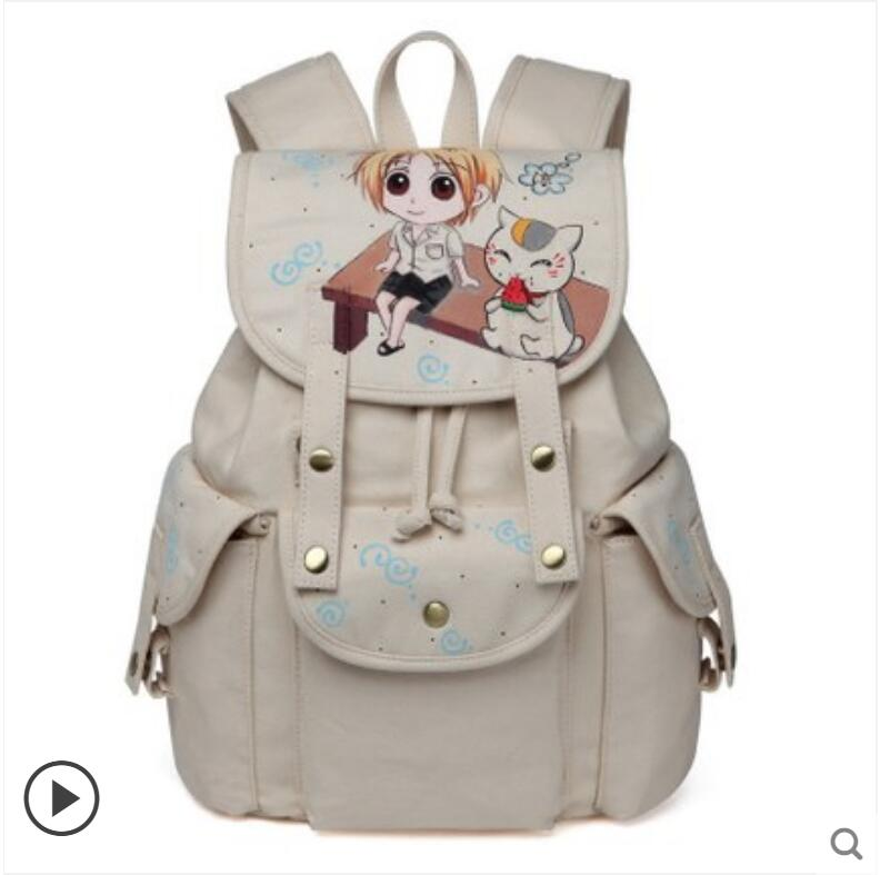 2018 new canvas shoulder bag female bag Anime Natsume Yuujinchou campus backpack Korean version of the hand-painted backpack 2017 new painted canvas bag shoulder bag korean version of the travel backpack student bag school bag campus