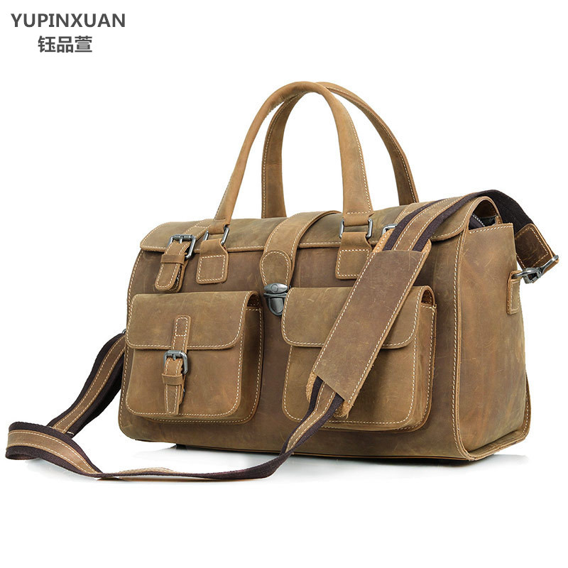 YUPINXUAN Vintage Crazy Horse Leather Travel Bags Men Large Capacity Handbags Cow Leather Messenger Bag 14  Laptop Shoulder Bag men travel bags crazy horse cow skin real leather man bags fashion design men shoulder bags