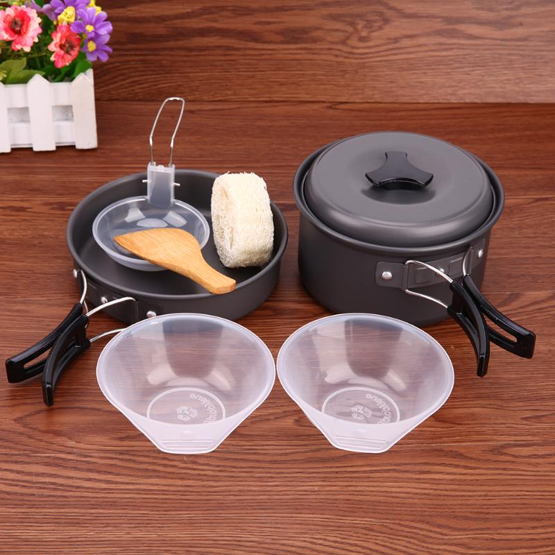 Outdoor Cooking Picnic Camping Bowls Cookware Tools Travel Hiking Cookware Bowl Pot Pan Utensils Set Camping Kitchen Tools