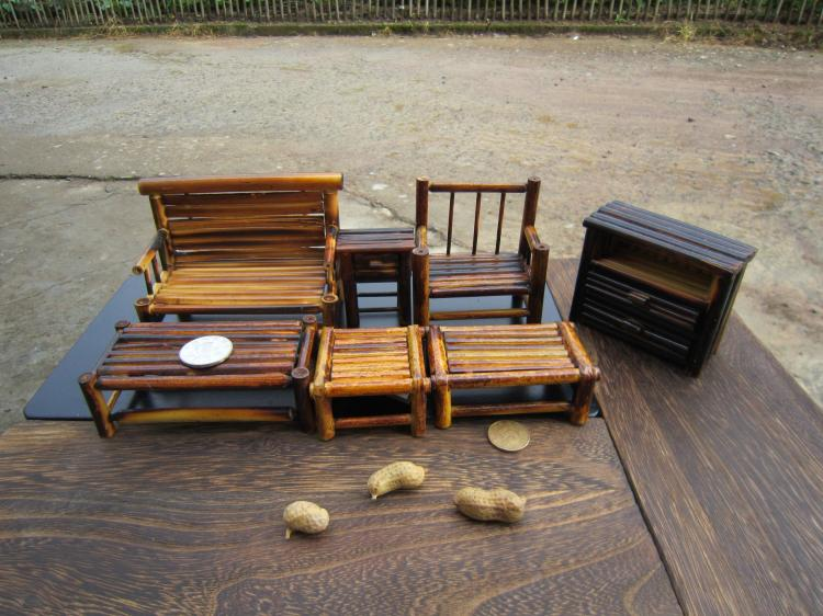 US $28.19 6% OFF One Set Bamboo Cabinet Antique Chair Ornament Handmade  Home Furnishing Living Room Mini Doll Furniture Model-in Dining Room Sets  from ...
