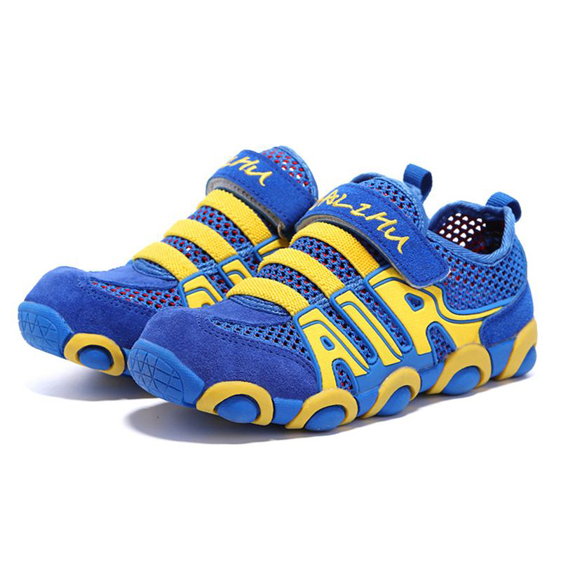 QIUTEXIONG Kids Sport Shoes Boys Sneaker Girls Casual Shoes Genuine Leather Mesh Cow Muscle Breathable School Children Footwear