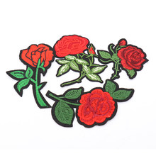 Embroidery Rose Flower Patch Sticker Sew On Applique For DIY Clothes Dress Hat Bag Jeans Punk Sewing Fabric(China)
